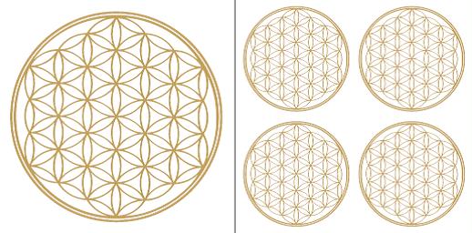Blume des Lebens Aufkleber-Set in Gold