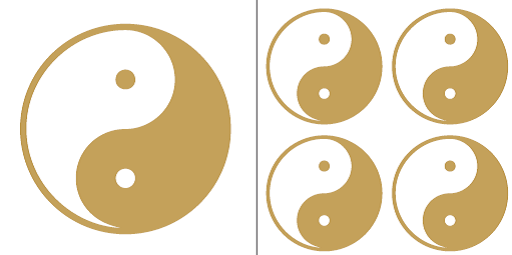 Yin Yang Aukleber-Set gold-weiß