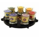 Kerzenhalter Pentagramm mit Kerzen und Gläsern